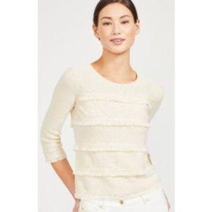 J Mclaughlin M Torla tan fringe cotton sweater